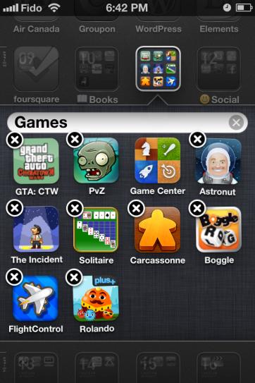 Edit folder name screen